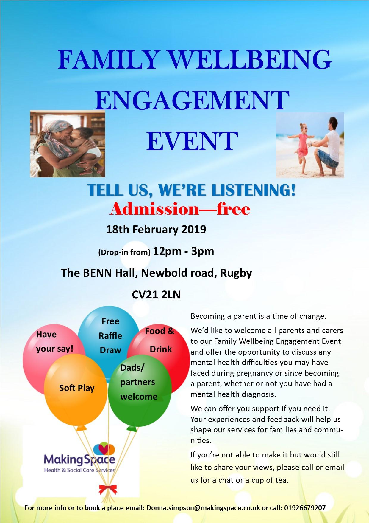 Family Wellbeing Events in Rugby
