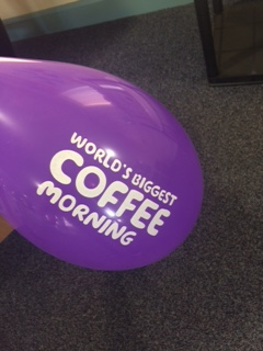 Balloon that says World's Biggest coffee morning